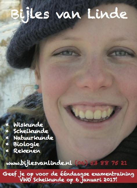 Advertentie Bijles van Linde december 2016 examentraining scheikunde